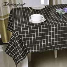 Zhuimenglong Classic Black Plaid Table Cloth Linen Cotton Rectangular Home Table Cloth for Picnic Party Decoration 11 Size ZL128