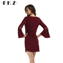 FKZ Autumn Dress Women Sexy Lace Flower Hollow Out Long Sleeve Minin Female Dress Skinny Bodycon Elegant Party Dress SKQ406#(China)