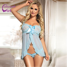 RW70200 Sexy transparent light blue lace lingeries bowknot ropa erotica hot sale babydoll breathable sexy lingerie plus size
