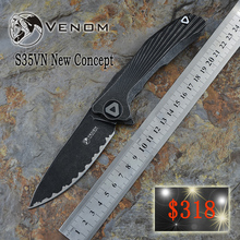 Kevin john VENOM black tungsten carbide steel plate new concept EDC titanium alloy small folding knife S35VN steel tool small to(China)