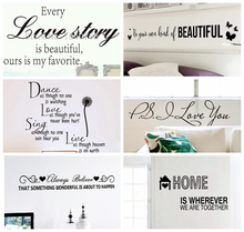 Family Love Story Dreams Dance Wall Decals Quotes Goodnight Wall Stickers Quotes Sayings Home Decoration Wall Art Butterflies