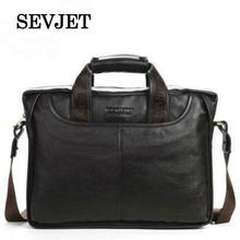 2017 Best Quality Brown/Black Genuine Leather Messenger Bag Fashion Men Business Bag Cool Men Briefcase Brand Men Handbag A108