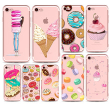 Ice cream Donuts Macaron Pattern Cover For iphone 5 Case 5s SE 6 6s Plus 6Plus 4 4s 5C 7 Plus Transparent Silicone Phone Protect