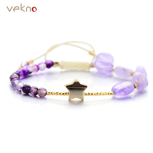 VEKNO Top Quality Purple Crystal Agates Charm Bracelet For Women Adjustable Rope Quartz Bracelet Natural Stone Druzy Jewelry