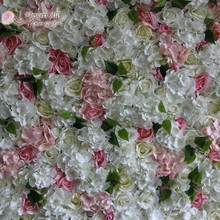 flowers all over gulf new artificial silk white light pink rose hydrangeas flower wall for wedding party backdrop decoration(China)