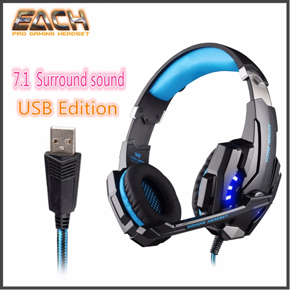 KOTION EACH G9000 USB Led Gaming Headphones with Microphone 7.1 Surround Sound Auriculares Game Headset LED Light for PC Game<br>
