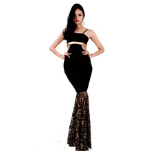 HU&GH S-XXL High Quality Sexy Sleeveless Maxi Dress Spaghetti Strap Cut Out Hollow Out Design Lace Mermaid Dress for WB009014(China)