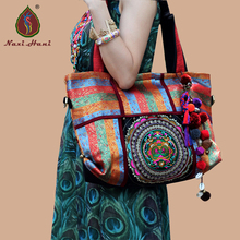 Newest Bohemia Double sided brocade embroidered shoulder bags Fashion vintage casual travel Messenger bags(China)
