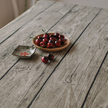 Retro Wood Grain Table Cloth Cotton Linen Tablecloth Rectangle Wedding Party Art Decoration Tables Cover 8 Sizes