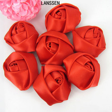 12Pcs Red Satin Rose Flowers Handmade Stain Rolled Rosettes Appliques For Craft Wedding Hair Accessories 3.5cm