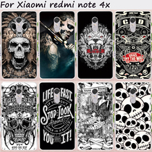 TAOYUNXI Cases For Xiaomi Redmi Note 4X Cover 4 X Note4X 5.5 inch Hard Plastic Soft TPU Cool Skull Pattern Cell Phone Bags Hood
