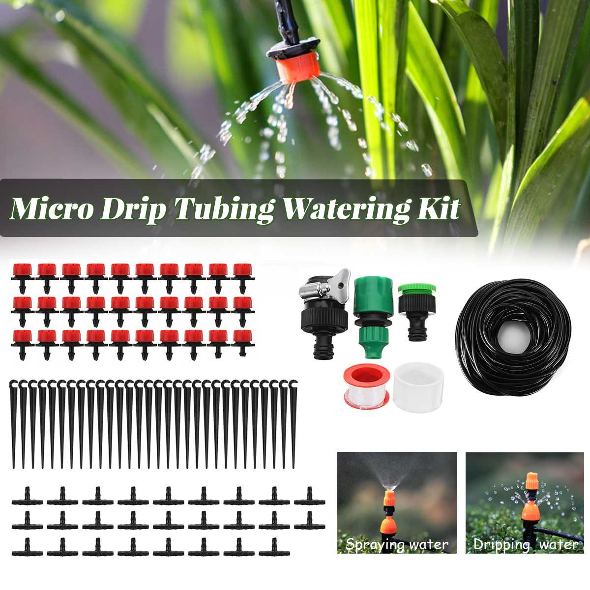 25M Tubing Hose Micro Drip Irrigation System Garden Plant Watering Device Kit