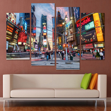 (Unframed) 4 Panel on Canvas Print Wall Art Picture for Living Room New York Times Square Modular picture Painting on the wall(China)