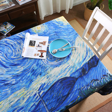 Painting Van Gogh Apricot flower Starry Sky cotton linen table cloth rectangle restaurant party kitchen table cover tablecloth