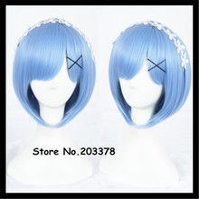 30cm Anime Cosplay Re:Life in a different world from zero Rem Ram Cosplay Wigs Short Blue Pink Wigs