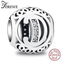 Forewe 925 Sterling Silver The Letter D Sparkling Jewelry Marketing Beads Fit pandora Original Bracelet Jewelry beads for women(China)