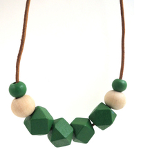woodland green necklace Natural geometric wooden beads statement necklace minimalist NW035