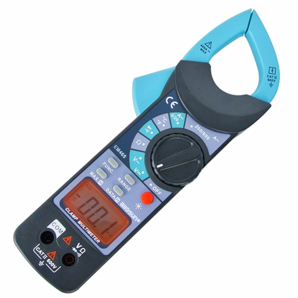 Digital Clamp Meter DC AC Voltage AC Current Resistance Diode Audible Continuity Temperature w/ 1999 Reading + 37mm Jaw Opening<br>