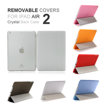 New PU Leather Ultra Thin Slime Smart Light Trifold Removable Part Crystal Back Anti-scratch Tri-fold  Case Cover For iPad Air 2