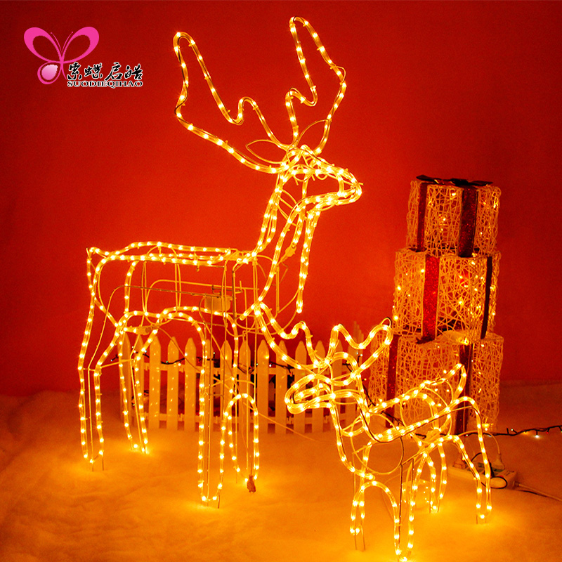 High Rainbow Tube Fawn Light Fawn Yellow Light LED Tube Shake Head Deer Large Christmas Decoration For Home Kerst Navidad<br>