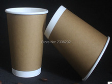 Low MOQ Craft Paper Double Wall Paper Cup Customized Logo Printing for Hot Coffee drink Eco-friendly Food Material