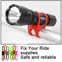 2016 Brand New Cheap Silicone Bicycle Light Tie Strap Portable Phone Flashlight Holder Cycling Bandages Torch Clip Clamp(China)