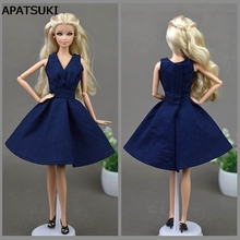 Dark Blue Elegant Handmade Unique Doll Dress For Barbie Doll Party Dresses Vestido Clothes For 1/6 BJD Doll Accessories(China)