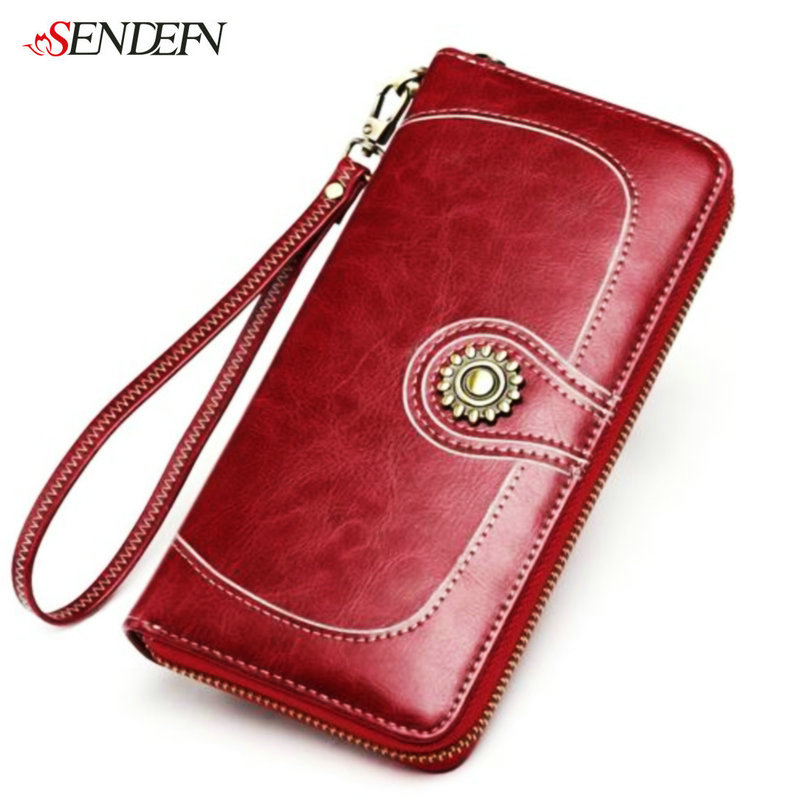 SENDEFN European Cowhide Split Leather Wallet Female Vintage Clutch Bag Money Women Wallets Zipper Long Coin Purse For iPhone7S<br>