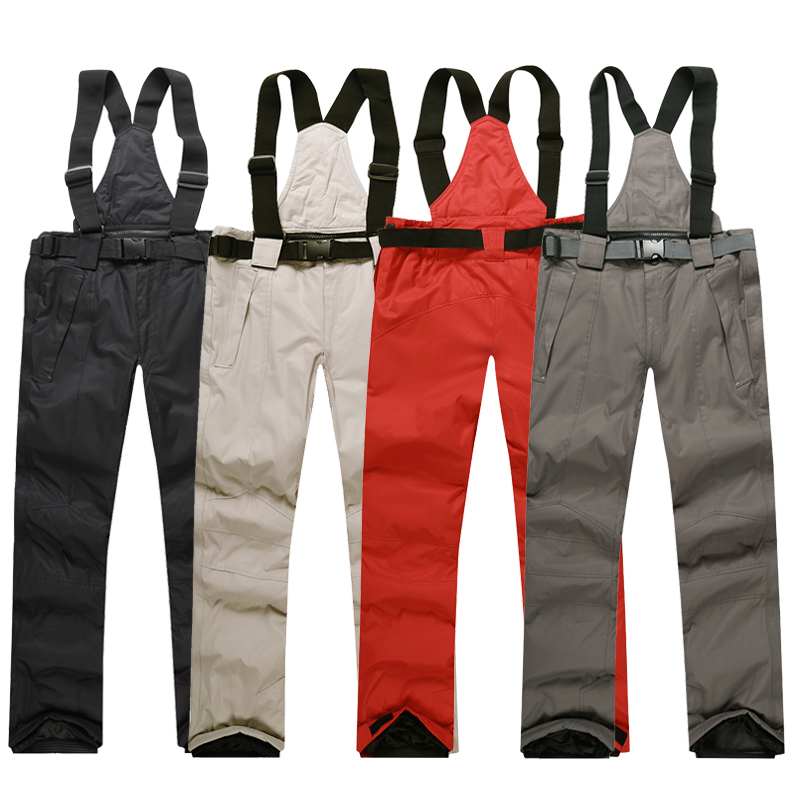 2017 New Men Ski Pants Warm Outdoor Sports Womens Snow Trousers Female Winter Snowboard Hombre With Shoulder Straps Waterproof<br>
