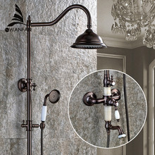 Luxury Classic Jade Deco Oil Rubbed Bronze Bath Elegant Rainfall Shower Faucet Set Tub Mixer Tap With Hand Spray SM-042611(China)