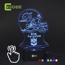 USB Novelty 7 Colors Changing 3D Led Light for Dolphins Rugby Football Team Fans as Home Decor Desk Table Night Lamp