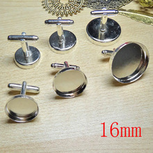 100pcs Wholesale Silver Plated French Cuff links Jewelry with inner 16mm Bezel Setting Tray for Cameo Cabochonsons