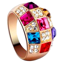 Hot Sale Luxury Women Colourful Rhinestone Crystal Finger Dazzling Ring Jewelry