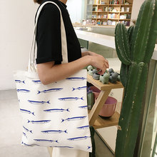 Hot Sale Korea Design Women Shoulder Bag Canvas Small Fish Printing Shopping Bag Ladies Top-Handle Handbags Girls Tote Bag 2017
