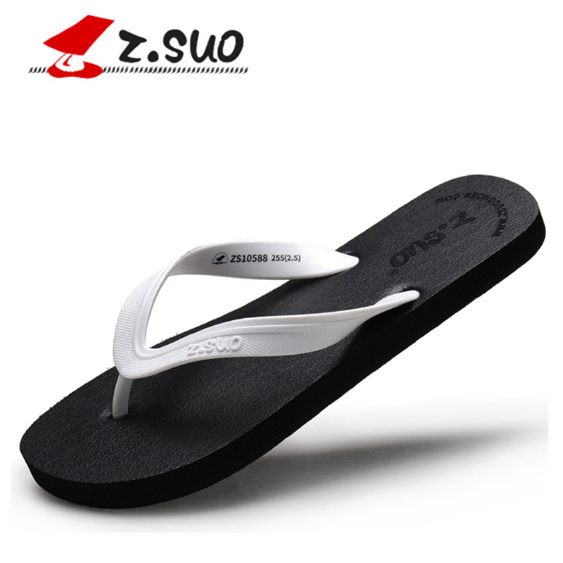 Z.Suo Brand 2017 Casual Summer Solid Color Women Beach Flip Flops Ladies Slipper Women Sandals white Flat Shoes Plus Size 35-42(China (Mainland))