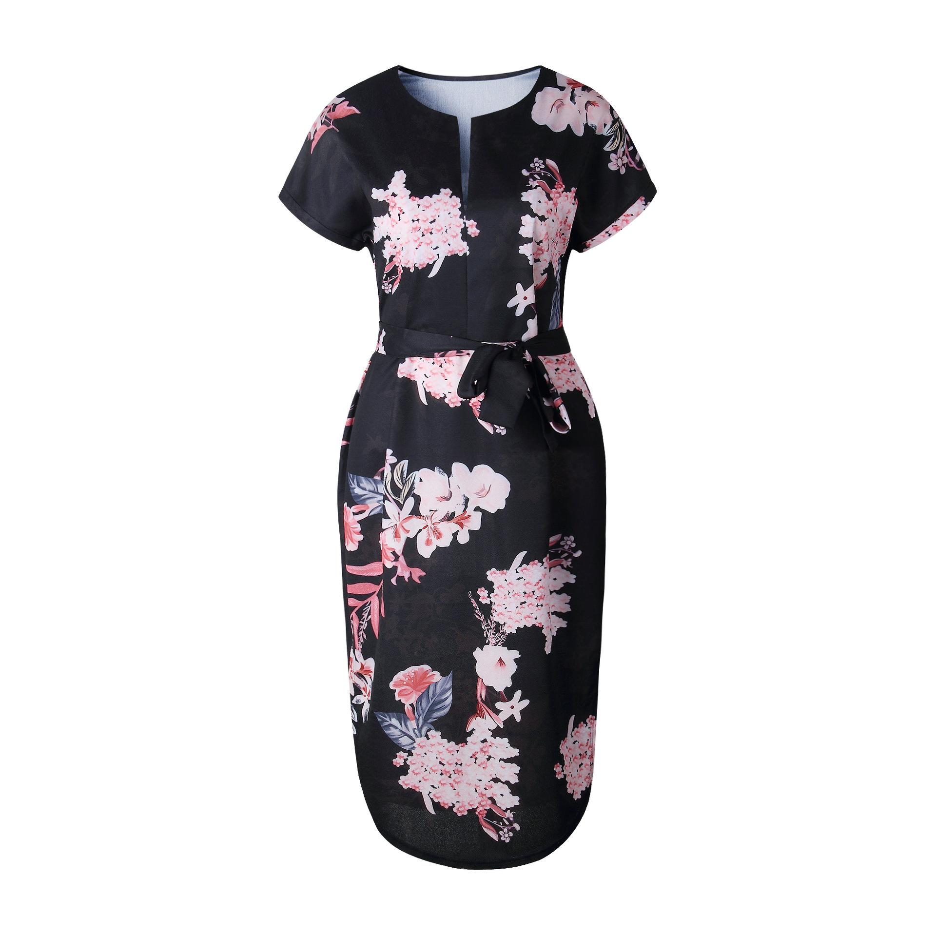 2018 Summer Dress Women Print V Neck Short Sleeve Robe Female Dresses Casual Sashes Midi Dress Ladies Elegant Vestidos Dropship 23