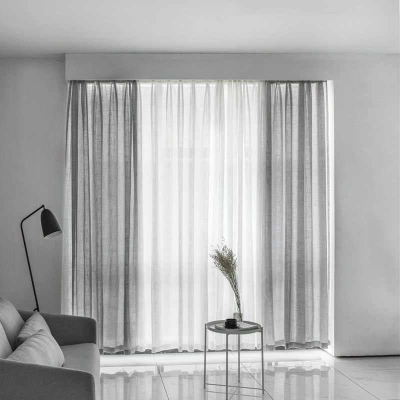 Gray Cotton Linen Tulle Drapes Curtain Decorative Modern White Sheer cortina para janela de quarto Curtain For Bedroom S053#4