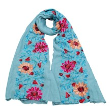 Women Long Autumn Sunscreen Vintage Floral Embroidered Scarves Shawl Ethnic Ladies