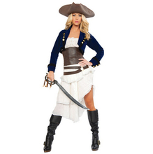 New Cosplay party pirates of the Caribbean clothes blue fashion women sexy uniform cool carnival halloween costume set dress&hat