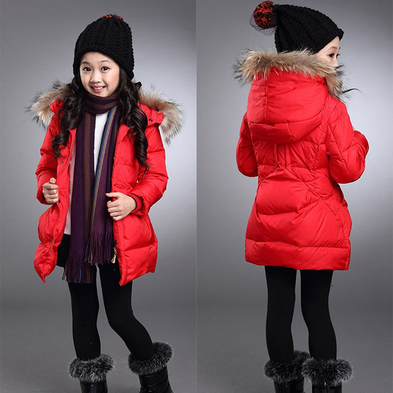 New Girl Warm Parkas Fur Collar Hooded Girl Winter Coats Cotton-padded Childrens Coat Long Girls Outerwear &amp; Coats Down Jacket Îäåæäà è àêñåññóàðû<br><br>