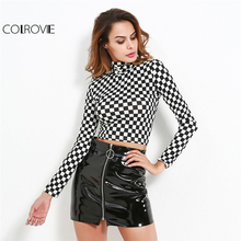 COLROVIE Plaid Crop Knit Tee 2018 Checkered High Neck Long Sleeve Slim T-shirt Women Sexy Party Wear Autumn T-shirt(China)