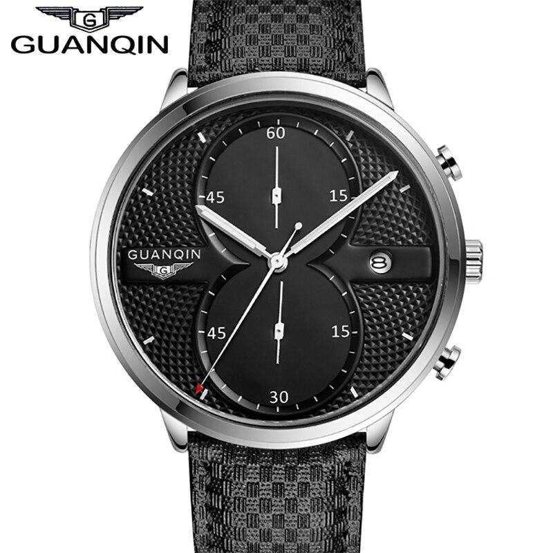 Watch Men Sport Leather Watchbands GUANQIN Brand Shockproof Waterproof Big Dial Quartz-watch Relogio Masculino 2017 Promotion<br>