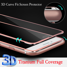 Luxury Clear Front Titanium 3D Curve Fit Full Coverage Screen Protector Tempered Glass for iPhone 6 Plus 5.5'' Retail Package(China)