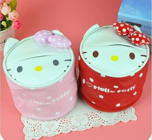 2016 news japan style cute tissue box High quality PU can be used in car hello kitty pink tissue canister