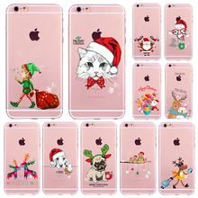 Christmas New Year Gifts Tree Snowman Animals Case For iphone 6 6s / 7 Plus 6Plus 5 5s SE 4 4s Soft TPU Silicone Back Cover Case