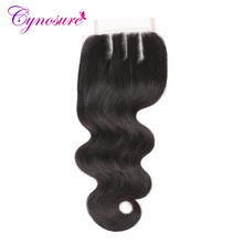 Cynosure Peruvian Body Wave Lace Closure Three Part 4''x 4'' Remy Hair Closure Natural Color 100% Human Hair Free Shipping
