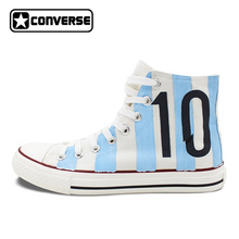 Hand Painted Converse All Star Shoes Design Argentina Football Number 10 White High Top Canvas Sneakers for Man Woman(China)