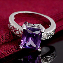 SHUANGR Luxury Austrian Crystal Finger Eternity Purple Ring with Purple Cubic Zirconia, Silver Rings For Women Wedding