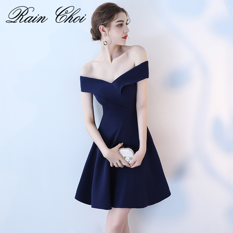 Real Picture Navy Prom Dresses 2018 Sexy Off Shoulder Prom Dress Short Party Boat Neck Simple Elegant Prom Gowns Evening 11