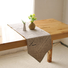 Cotton retro nostalgia table flag factory direct double-sided coffee table runner kitchen home decoration(China)